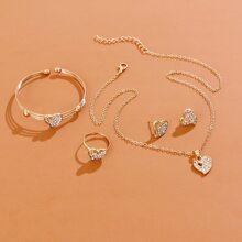 5pcs Rhinestone Heart Decor Jewelry Set