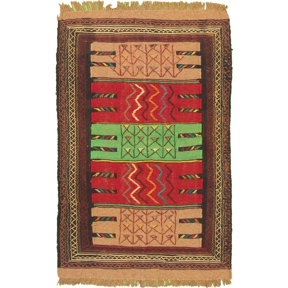 ECARPETGALLERY Flat-weave Ottoman Natura Red Wool Kilim - 3'7 x 5'5 (Red - 3'7 x 5'5)