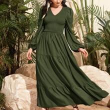 Double V Neck Shirred Bodice Lantern Sleeve Tiered Dress