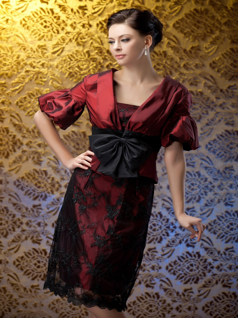 Fantastic Lace Sheath Knee-Length Strapless Polina's Mother of the Bride Dress With Jacket/Shawl