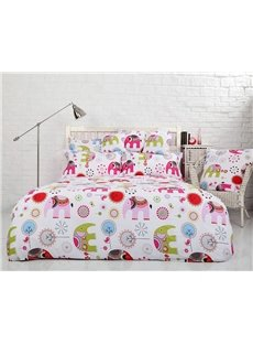 Lovely Pink Elephant Print 4-Piece Cotton Duvet Cover Sets