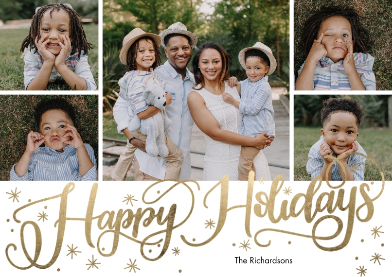 Holiday Photo Cards 5x7 Cards, Premium Cardstock 120lb with Scalloped Corners, Card & Stationery -Holiday Scattered Stars by Tumbalina