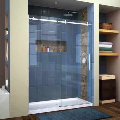 SHDR-64607610-08 Enigma Air 56-60 W X 76 H Frameless Sliding Shower Door In Polished Stainless