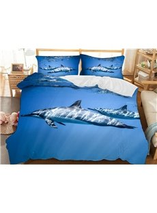 Dolphins Swimming In The Blue Ocean Soft 3D Printed Polyester 3-Piece Bedding Sets/Duvet Covers