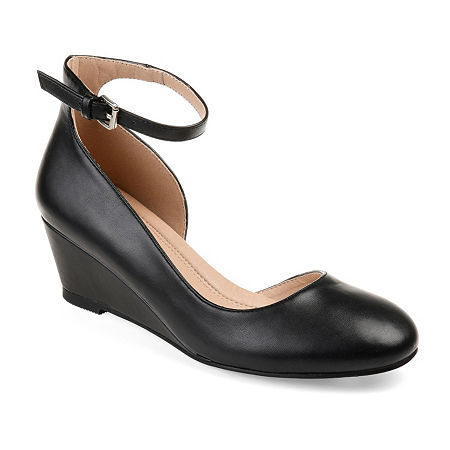 Journee Collection Womens Seely Pumps Buckle Round Toe Wedge Heel, 6 1/2 Medium, Black