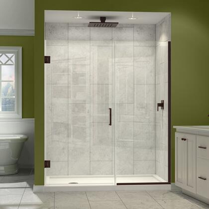 SHDR-245457210-06 Unidoor Plus 54 1/2 - 55 In. W X 72 In. H Frameless Hinged Shower Door  Clear Glass  Oil Rubbed