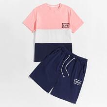 Camiseta de hombres de color combinado con shorts con cordon
