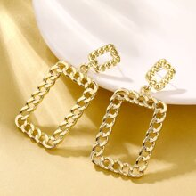 Rectangle Chain Drop Earrings