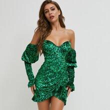 Rueschen Leopardenmuster  Glamouros Kleider