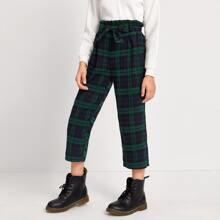 Hose mit Karo Muster, Papiertaschen auf Taille und Guertel