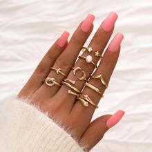 9 piezas anillo con perla artificial