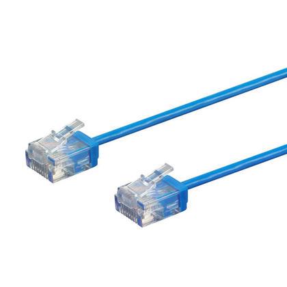 Câble de brassage Ethernet toronné Micro SlimRun 550MHz 36AWG Cat6 UTP - Monoprice® - Bleu, 7pi
