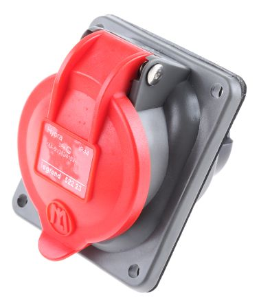 Legrand Red 3P+E panel/surface mount socket,16A