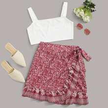 Cami Top & Wrap Knot Floral Skirt Set