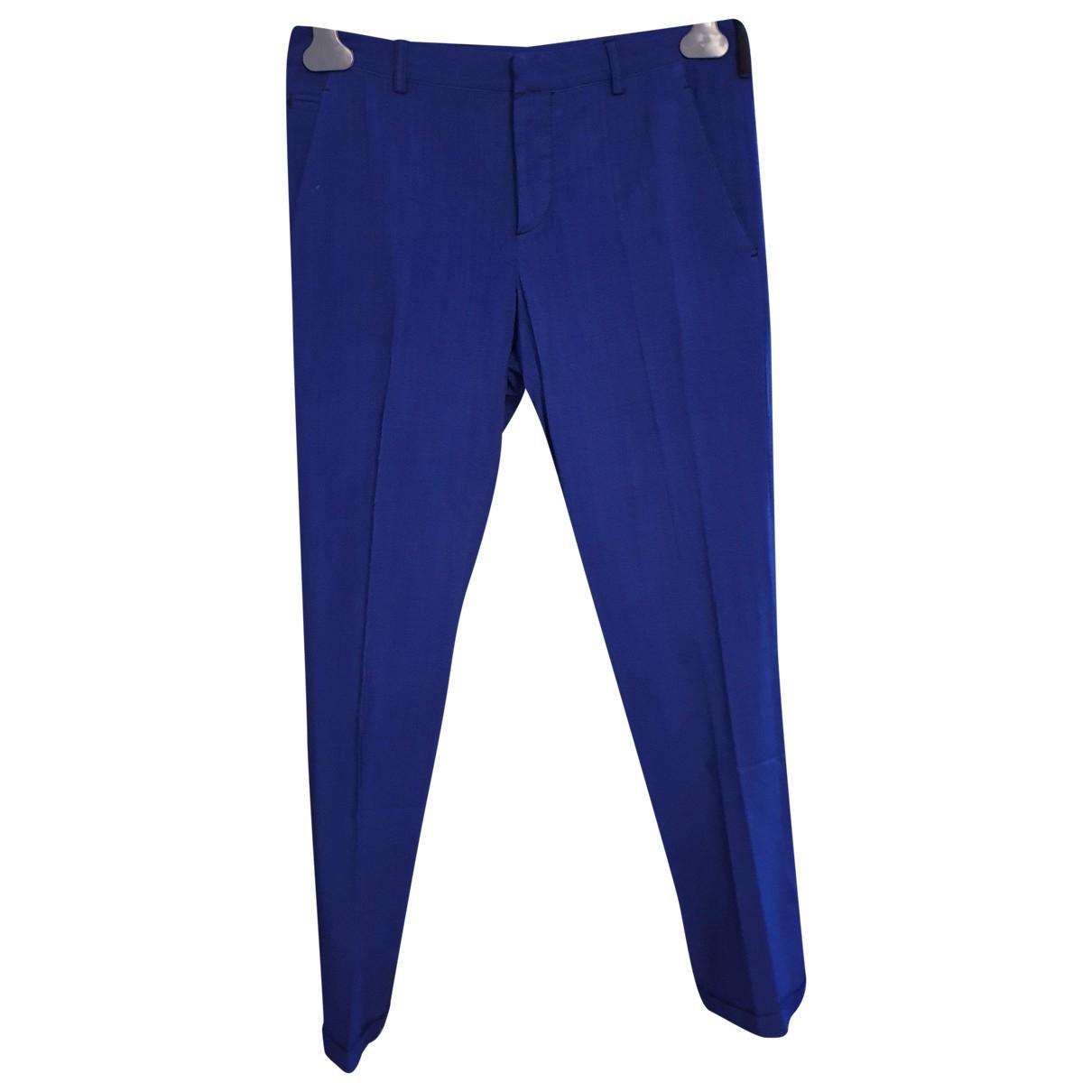 Pantalones en Algodon Azul Prada