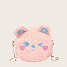 Girls Cartoon Embroidered Fluffy Chain Bag