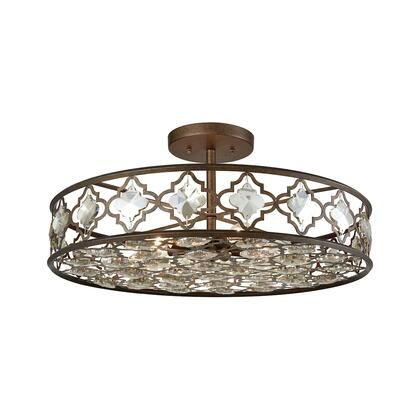 31093/8 Armand 8 Light Semi Flush in Weathered Bronze with Champagne Plated
