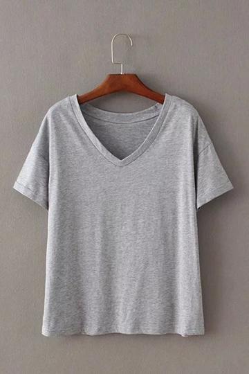 Yoins Plain Gray V Neck T-shirts