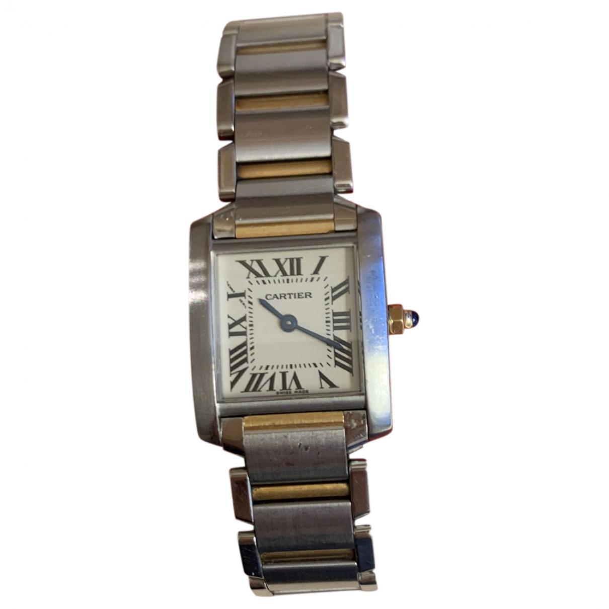 Cartier - Montre Tank Francaise pour femme en or et acier - dore