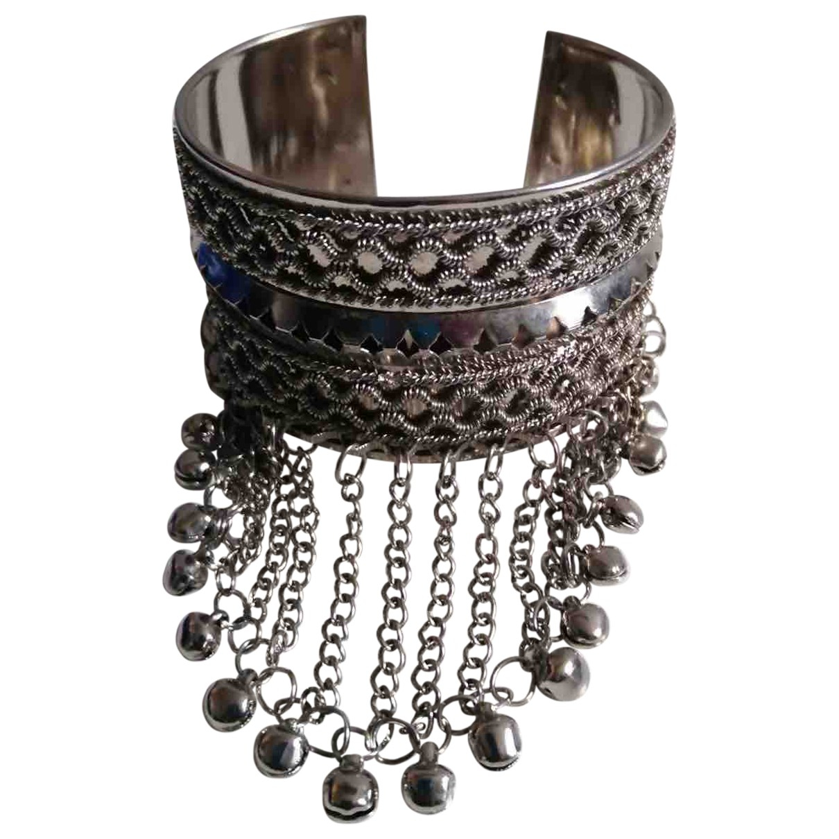 Non Signé / Unsigned Manchette Silver Metal bracelet for Women N
