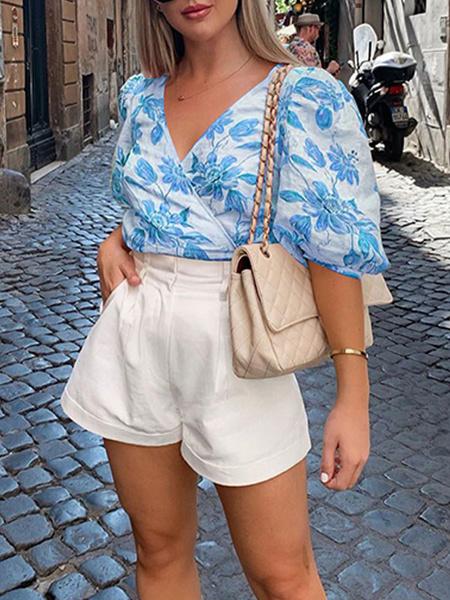Milanoo Shirt For Women Light Green Polyester V Neck Casual Floral Print Half Sleeves Tops