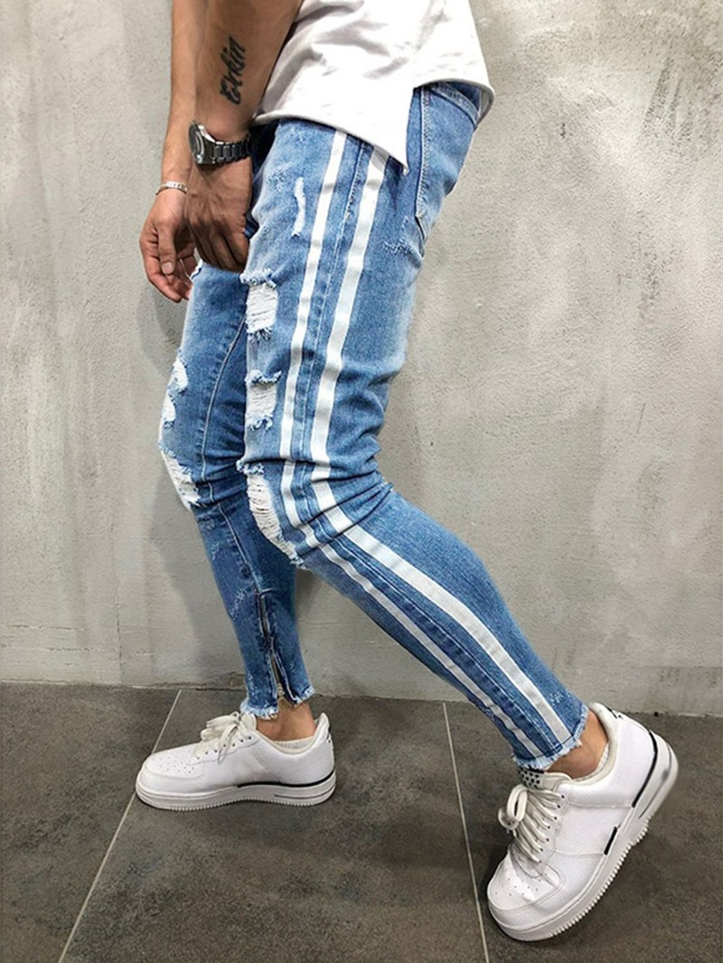 Ericdress Hole Color Block Mid Waist Mens Zipper Jeans