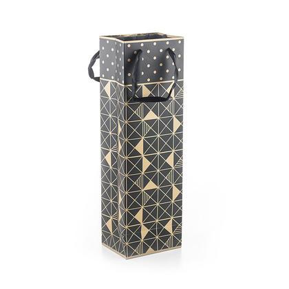 Geo Gold Matte Black Wine Bottle Gift Bag for 500ml or 750ml, 12 x 36 x 8cm
