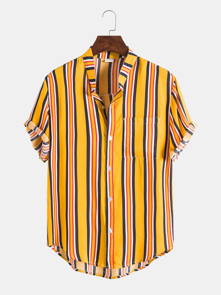 Mens Breathable Casual Striped Round Hem Short Sleeve Shirts
