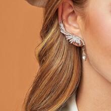 1pc Rhinestone & Crystal Ear Cuff