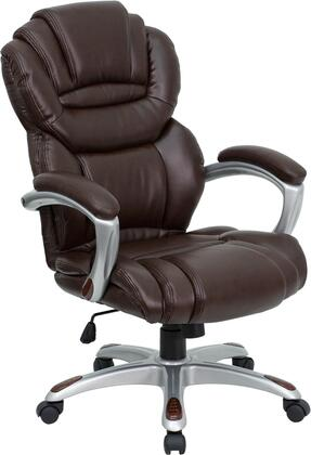 GO-901-BN-GG High Back Brown Leather Executive Office Chair with Leather Padded Loop