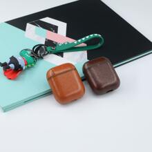 1pc Plain Leather Airpods Case