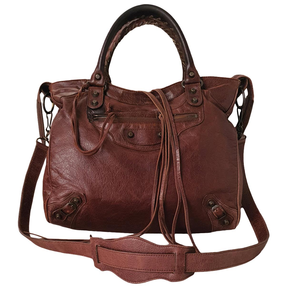 Balenciaga - Sac a main Velo pour femme en cuir - marron