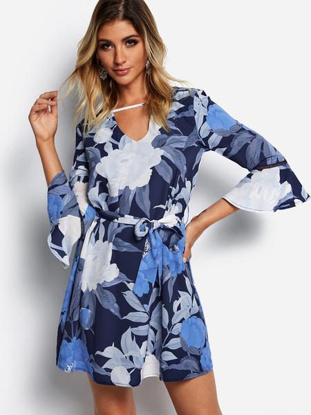 Yoins Blue Self-tie Design Random Floral Print Crew Neck Bell Sleeves Dress
