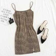 Slip Kleid mit Schlitz am Saum und Leopard Muster