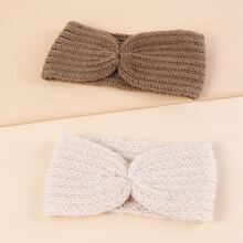 2pcs Solid Knitted Headband