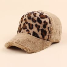 Leopard Pattern Fluffy Baseball Cap