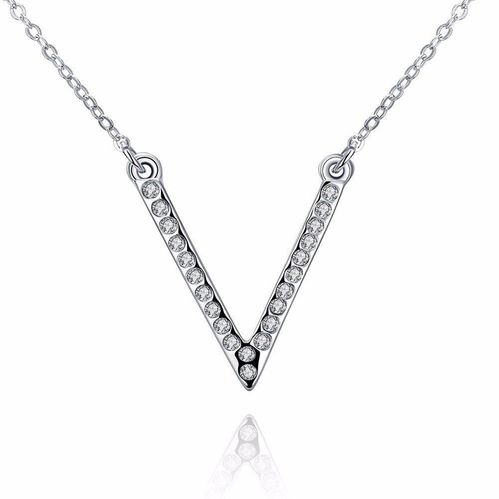 Luxury Women Necklace V-Shaped Silver Rhinestone Necklace