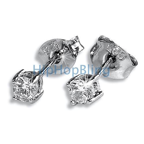 3mm Round CZ Signity Sterling Silver Earrings