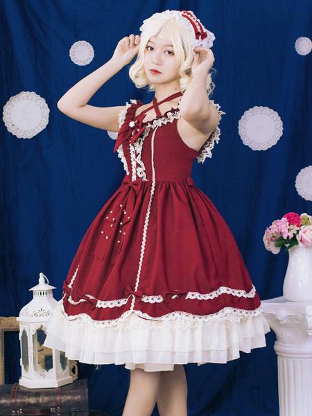 Milanoo Classic Lolita JSK Dress Neverland Ruffle Bow Lace Pearl Pom Pom Lolita Jumper Skirt Original Design
