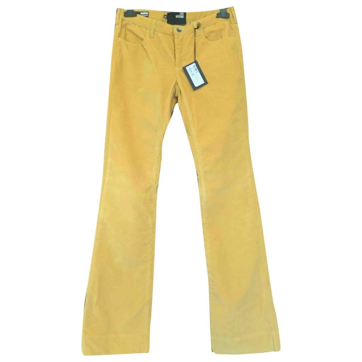 Pantalon en Algodon Amarillo Moschino Love