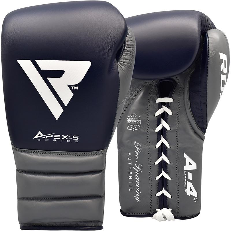 RDX A4 Boxhandschuhe Fuers Sparring Leder Muay Thai Zum Schnueren 14oz Blau/Weiss