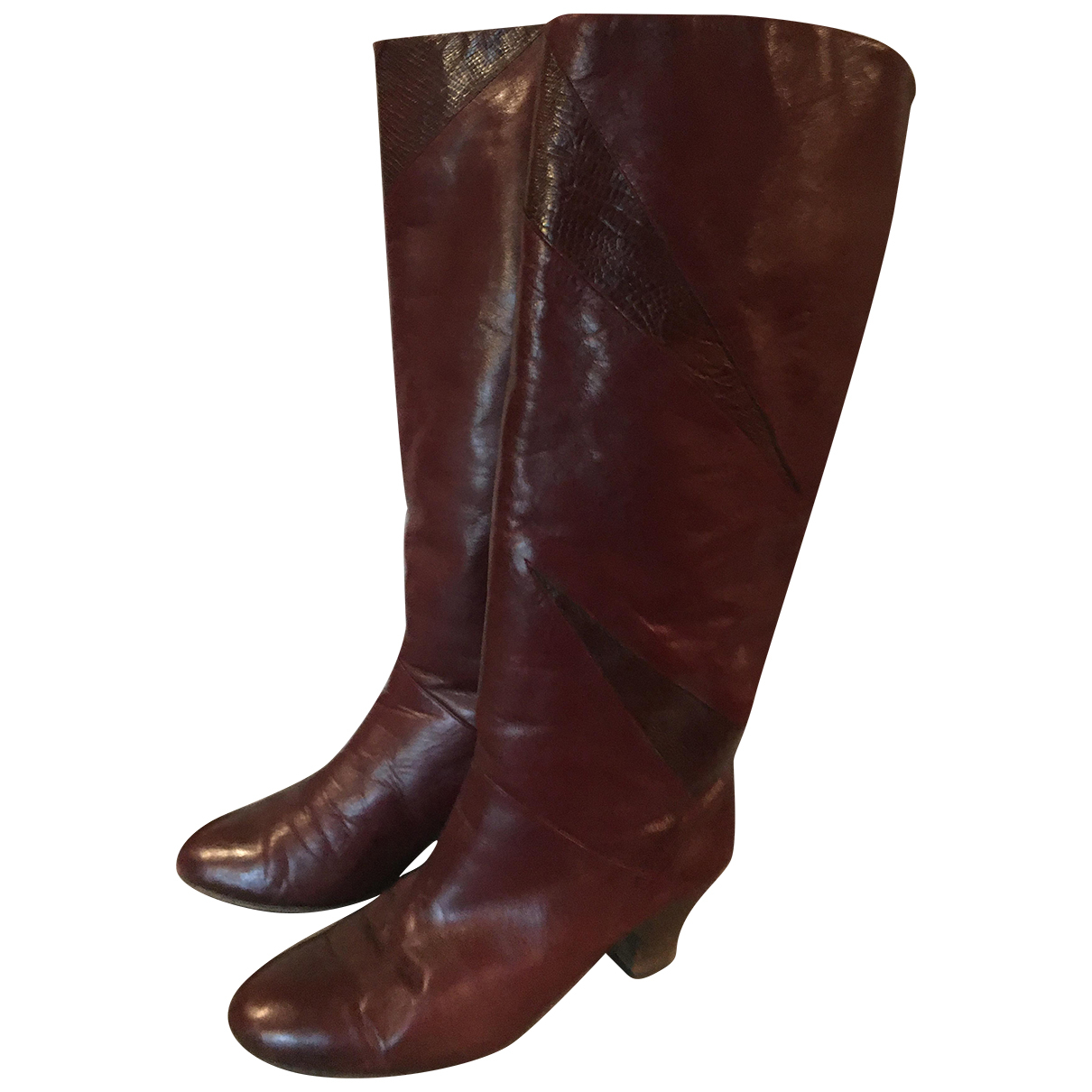 Non Signe / Unsigned \N Stiefel in  Bordeauxrot Leder