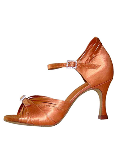 Milanoo Brown Ballroom Shoes Satin Stiletto Heel Rhinestones Buckled Dance Shoes