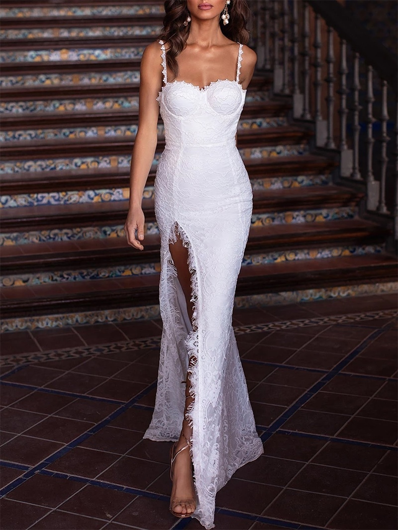Ericdress Split-Front Sheath Lace Beach Wedding Dress
