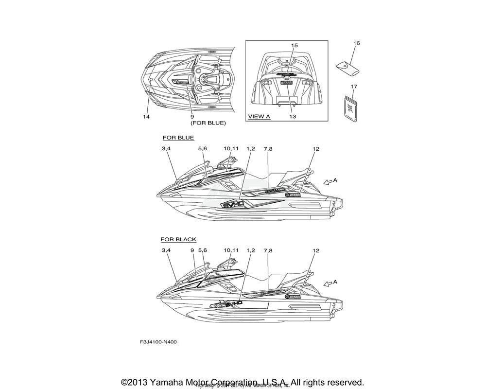Yamaha OEM F3J-U417G-30-00 GRAPHIC 6 RH | FOR BLACK