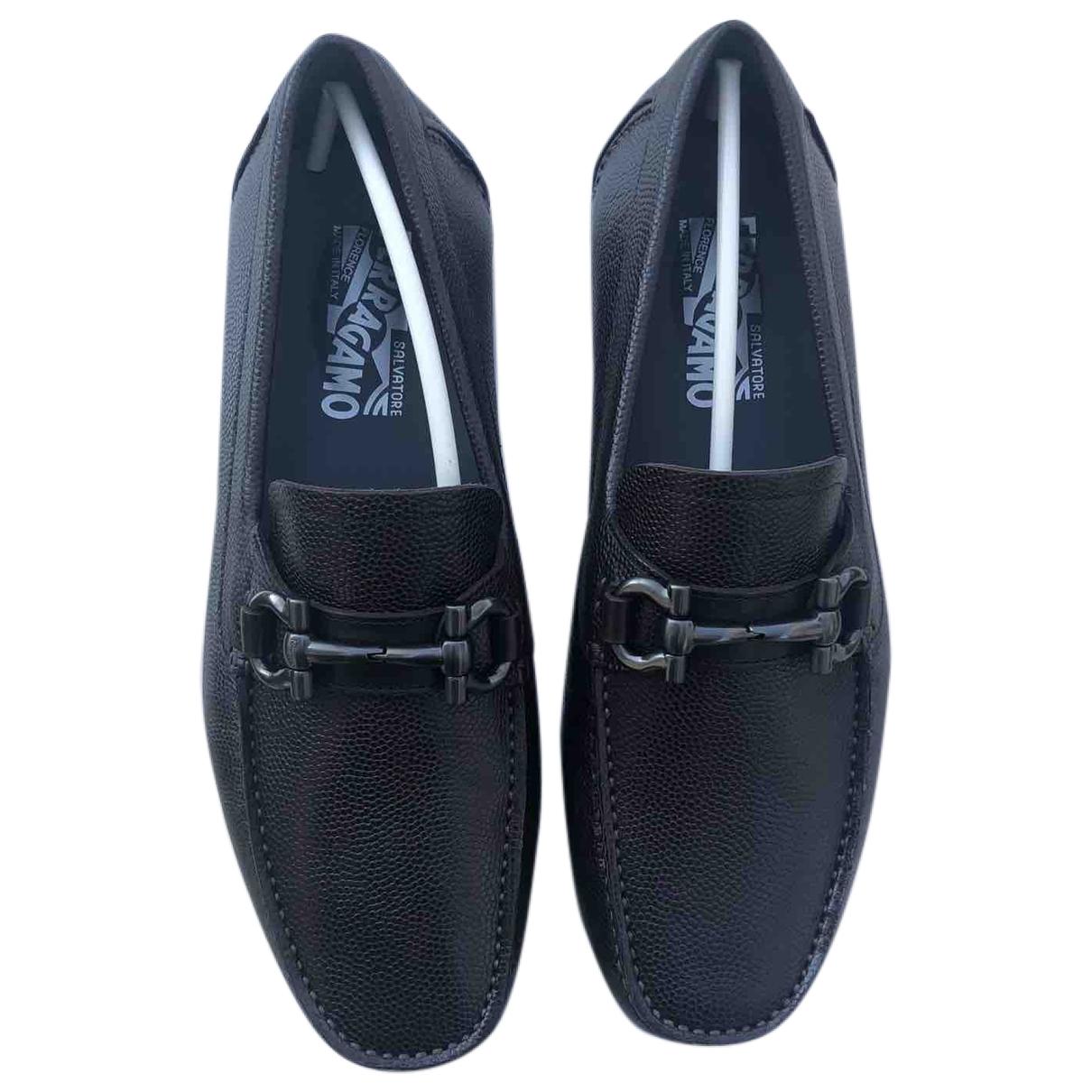 Salvatore Ferragamo Gancini Brown Leather Flats for Men 6.5 US