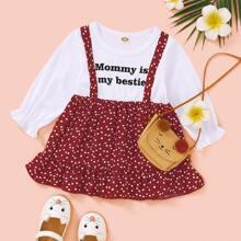Baby Girl Slogan And Heart Print Combo Dress