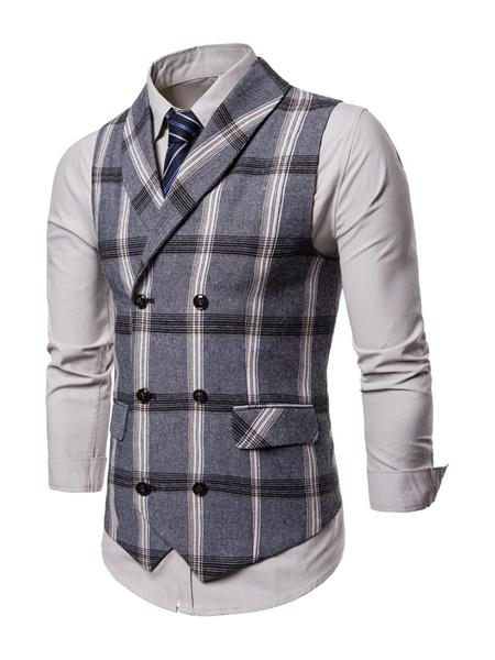 Milanoo Grey Suit Vest Double Breasted Plaid Tuxedo Plus Size Shawl Lapel 1950s Men Waist Coat