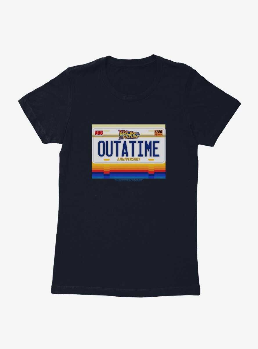 Back To The Future Out A Time License Plate Womens T-Shirt