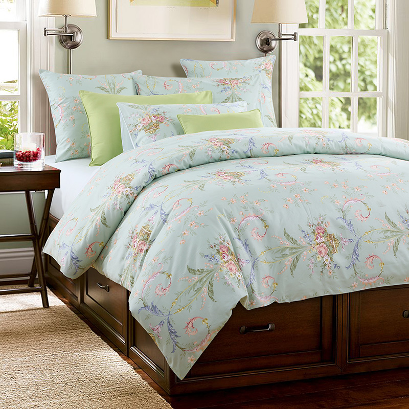 Plant Polyester Duvet Cover Set Reactive Printing Three-Piece Set Polyester Bedding Sets